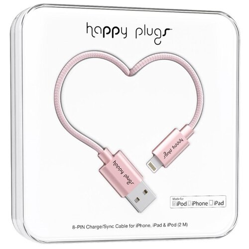 Кабель Happy Plugs Lightning to USB Charge/Sync MFI 2 м pink gold qumo lightning usb mfi rose gold кабель 1 м