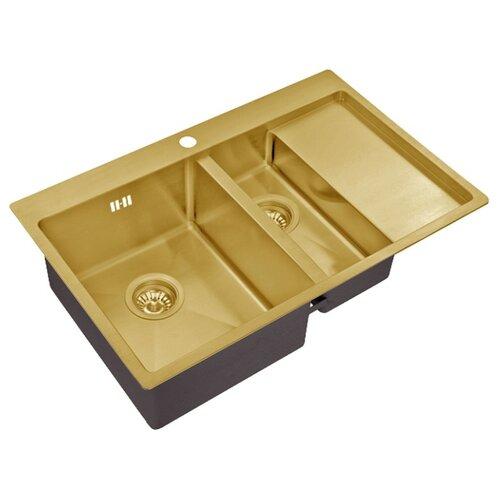 Интегрированная кухонная мойка 78 см ZorG SZR 5178-2-L bronze интегрированная кухонная мойка 78 см zorg szr 7851 r bronze бронза