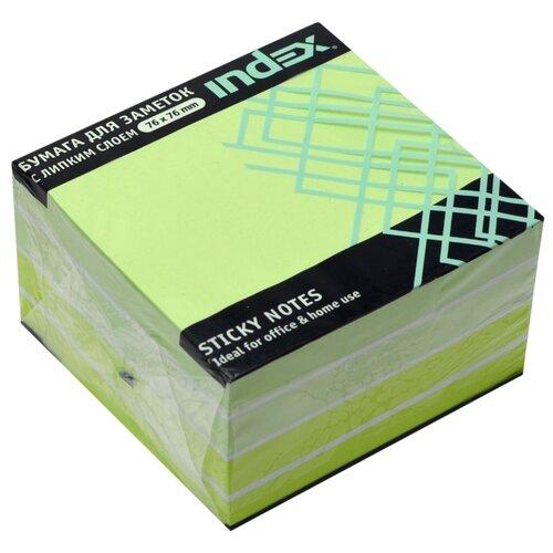 Index блок-закладка с липким слоем 76х76 мм, 450 листов (I433816/I433817) зеленая пастель