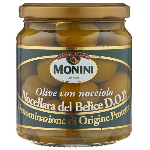 Monini Оливки в рассоле с косточкой, стеклянная банка 300 г iberica оливки с миндалём в рассоле стеклянная банка 370 г