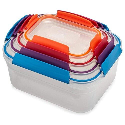 Joseph Joseph Набор контейнеров для хранения продуктов Nest Lock 81090 прозрачный/голубой/фиолетовый/красный/оранжевый недорого