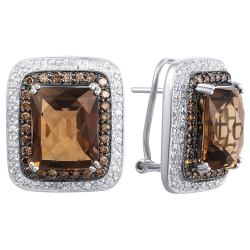 JV Серьги из золота с бриллиантами и топазами C012STC4W-DN-SQ-WG