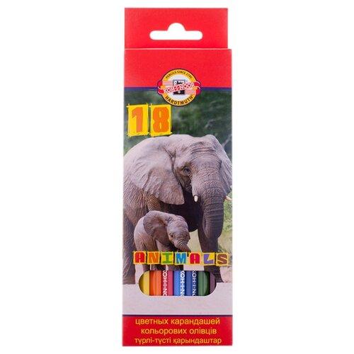 Купить KOH-I-NOOR Карандаши цветные Животные, 18 цветов (3553018008KSRU), Цветные карандаши
