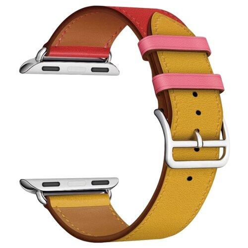 Lyambda Кожаный ремешок Maia для Apple Watch 42/44 mm yellow/red/pink