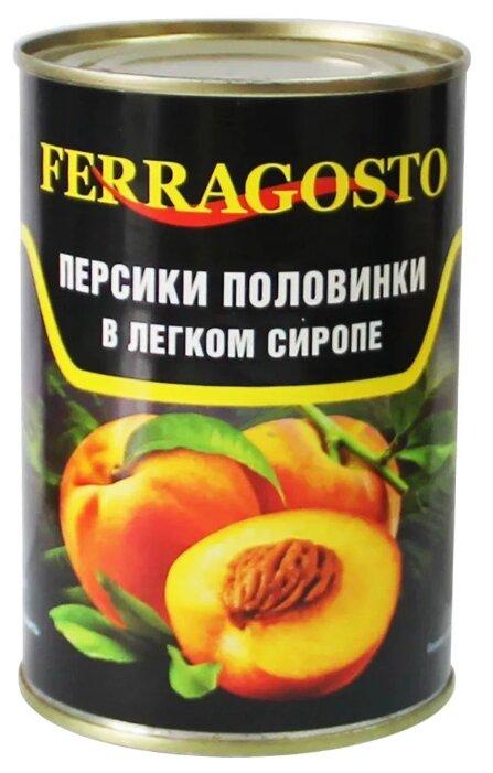 Консервированные персики Ferragosto половинки в лёгком сиропе, жестяная банка 425 г