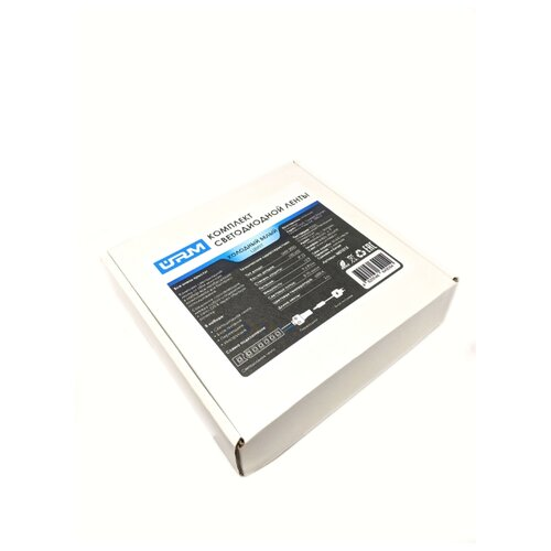 Комплект светодиодной ленты SMD 2835, 120 LED, 12 В, 9.6 Вт, 8-10 лм, IP22, холодный белый (6500 К), 3 м