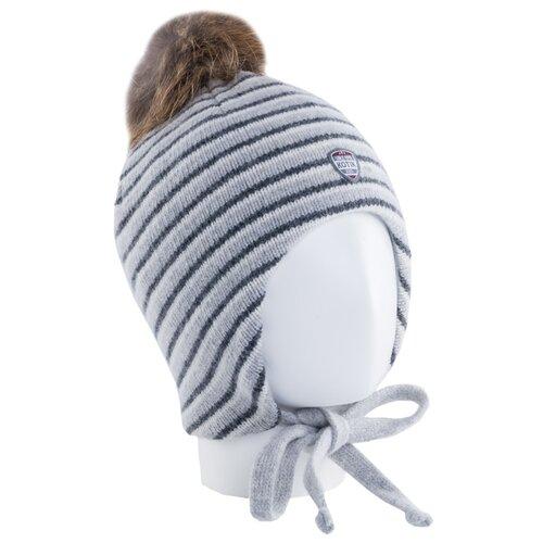 Шапка КОТОФЕЙ размер 50-52, серый в полоску