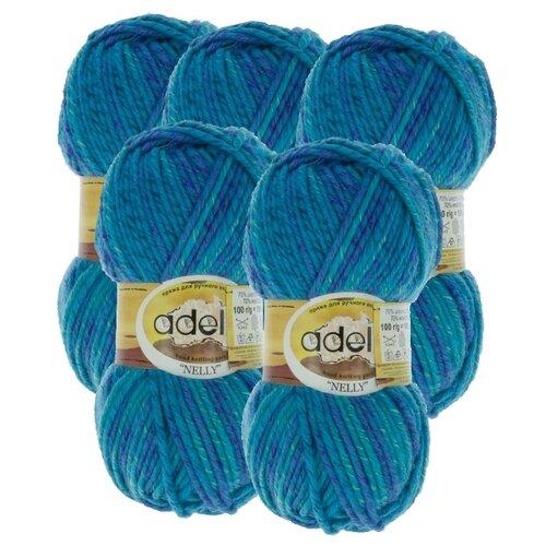 Купить Пряжа Adelia Nelly мелажевая, 70 % шерсть, 30 % акрил, 100 г, 100 м, 5 шт., №12 синий-т.бирюзовый