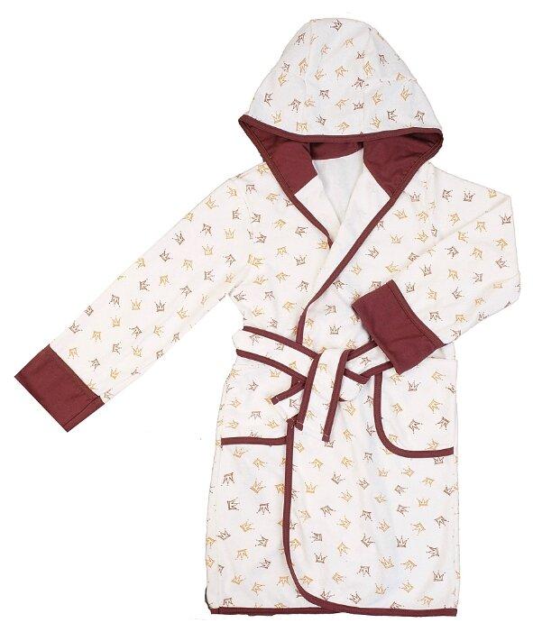 Халат ДО (Детская одежда) размер 110-116, коричневый/белый