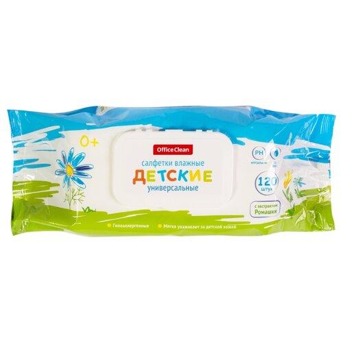 Купить Влажные салфетки OfficeClean универсальные с экстрактом ромашки пластиковая крышка 120 шт.
