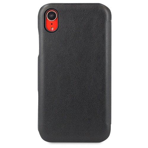 Кожаный чехол для Аpple iPhone Xr / Чехол Книжка на Эпл Айфон Хр с кармашком для карт (Черный)