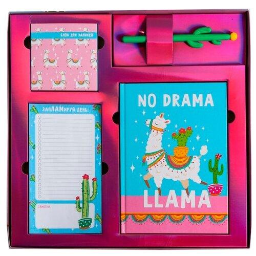 Купить Канцелярский набор ArtFox NO DRAMA LLama (4523001), 4 пр., розовый/голубой, Офисные наборы