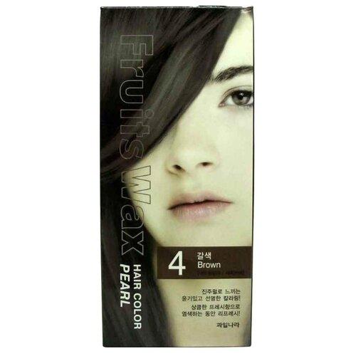 Фото - Welcos стойкая крем-краска для волос Fruits Wax Pearl Hair Color, 4 brown краска для волос fruits wax pearl hair color 60мл no 99