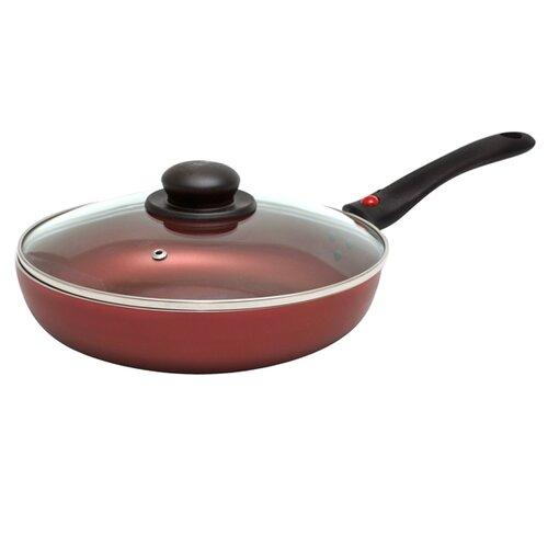 Сковорода JARKO Charlotte 24 см с крышкой, съемная ручка, красный