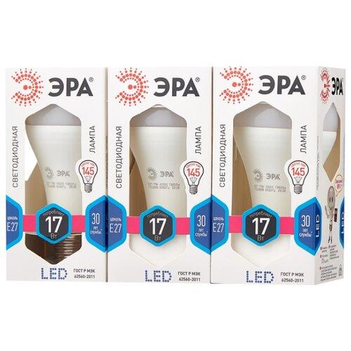 Упаковка светодиодных ламп 3 шт ЭРА Б0031700, E27, A60, 17Вт упаковка светодиодных ламп 3 шт эра б0031705 e27 a60 16вт