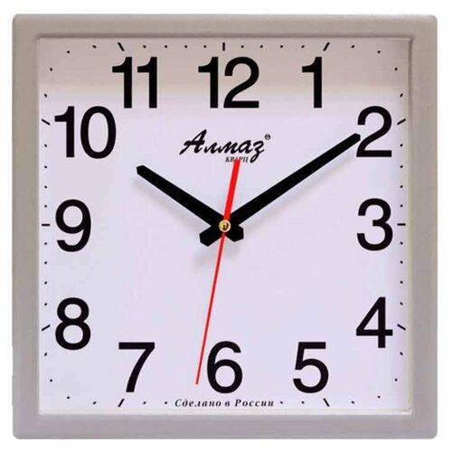 Часы настенные кварцевые Алмаз K51 серебристый/белый/красный