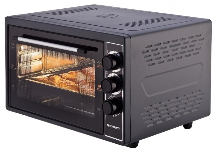Купить Мини-печь KRAFT KF-MO 3801 черный по низкой цене с доставкой из Яндекс.Маркета (бывший Беру)