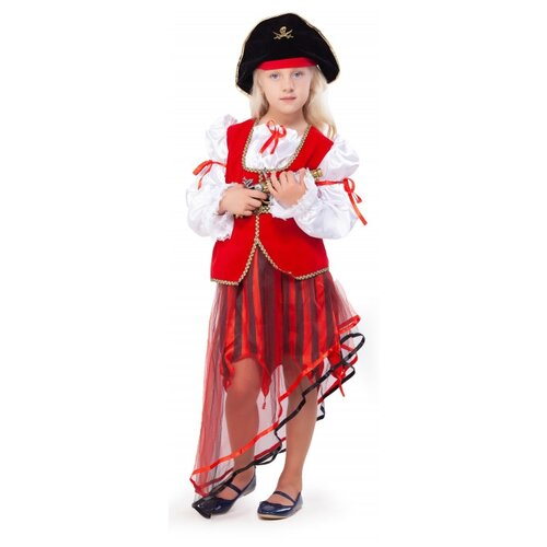 Костюм ВКостюме.ру Пиратка (5898706), красный/черный, размер 140-146