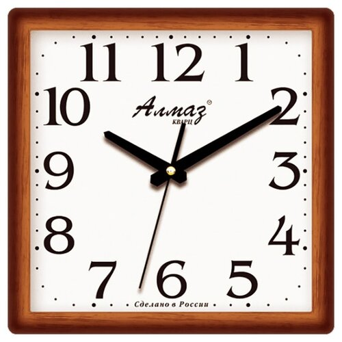 Часы настенные кварцевые Алмаз M36 коричневый / белыйЧасы настенные<br>