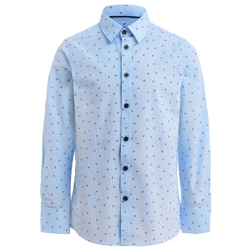 Купить Рубашка Gulliver размер 128, голубой/белый, Рубашки