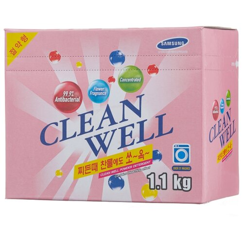 Стиральный порошок CleanWell Универсальный концентрированный с ароматом цветов 1.1 кг картонная пачка