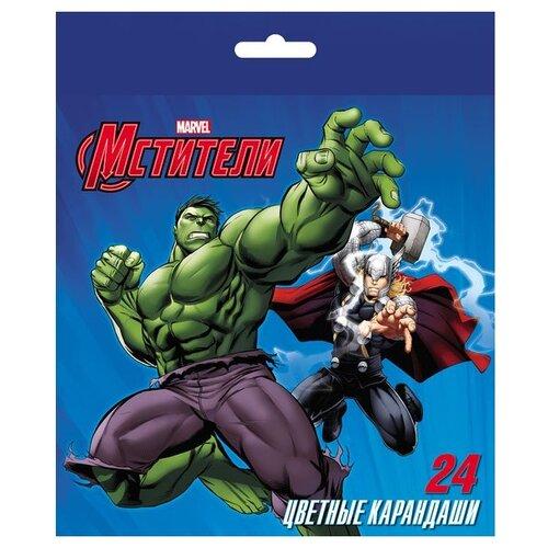 Купить Hatber Карандаши цветные Marvel Мстители, 24 цвета (BKc_24117), Цветные карандаши