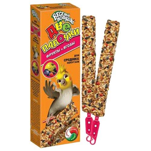 Фото - Лакомство для птиц Зоомир Веселый Попугай с фруктами и ягодами для средних попугаев 50 г лакомство для средних попугаев зоомир веселый попугай две палочки любимые орехи 70 г