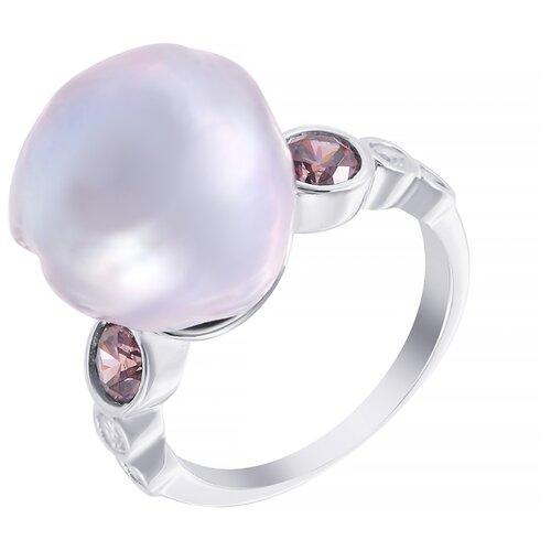 ELEMENT47 Кольцо из серебра 925 пробы с барочным жемчугом и кубическим цирконием CYZPE015424R_KO_WB_002_WG, размер 18.5