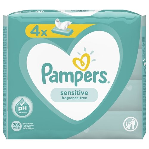 Влажные салфетки Pampers Sensitive липучка 208 шт.