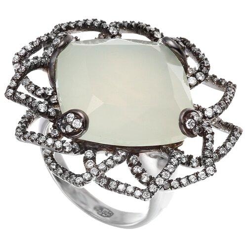 JV Кольцо с фианитами и жадеитом из серебра ER015407D-KO-JD-001-WG, размер 16.5 jd коллекция разноцветное кольцо дефолт