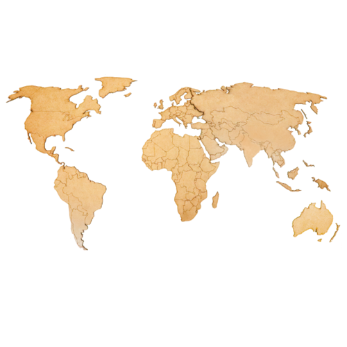 Физическая (общегеографическая) AFI DESIGN Деревянная карта мира, коричневая (80х40 см) 80х40 см