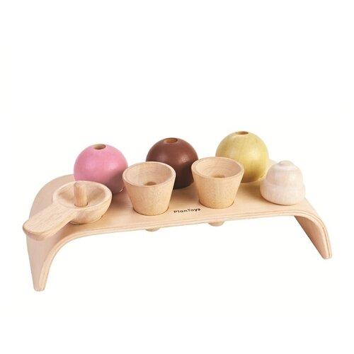 Купить Набор продуктов с посудой PlanToys Мороженое 3486 коричневый/розовый, Игрушечная еда и посуда
