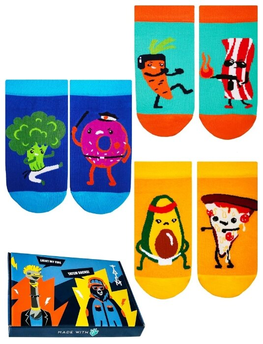 Носки Food Battle, набор из 3 пар Tatem socks