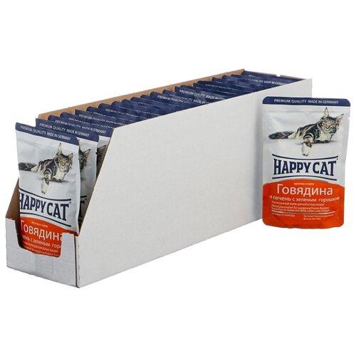 Корм для кошек Happy Cat с говядиной, с печенью и с горошком 22шт. х 100 г (кусочки в желе)
