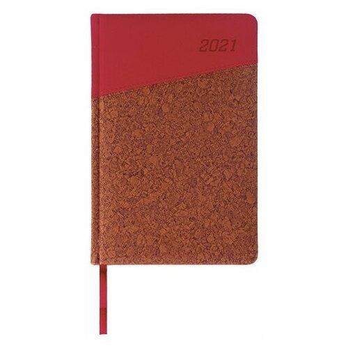 Ежедневник BRAUBERG Cork датированный на 2021 год, искусственная кожа, А5, 168 листов, красный/коричневый еженедельник brauberg instinct датированный на 2021 год искусственная кожа а5 64 листов красный