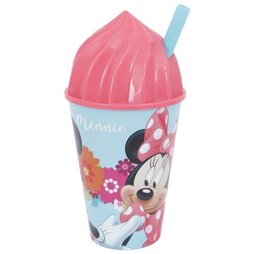 Stor Стакан с соломинкой и объемной крышкой в виде мороженого 430 мл Минни Маус Цветы