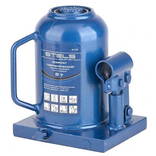 Домкрат бутылочный гидравлический Stels 51118 (8 т) синий