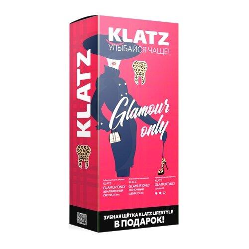 Купить Набор KLATZ: Зубная паста земляничный смузи 75 мл + Зубная паста молочный шейк 75 мл + Зубная щетка средняя 1 шт, Гигиена полости рта