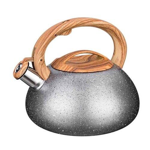 Agness Чайник со свистком 907-081 3 л, черный/коричневый