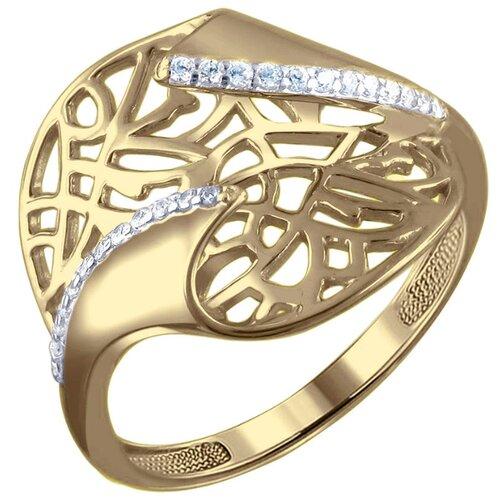 Эстет Кольцо с 24 фианитами из жёлтого золота 01К1310512, размер 16.5