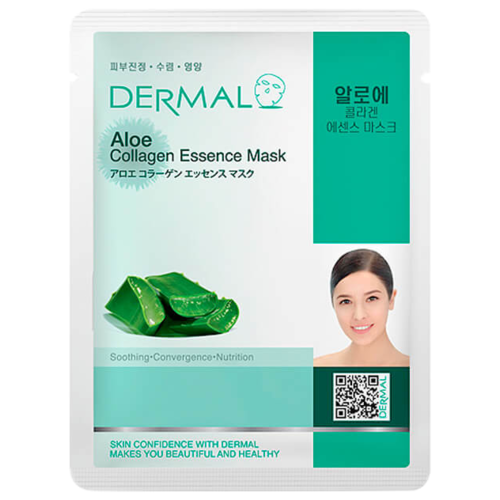 DERMAL Aloe Collagen Essence Mask Тканевая маска с коллагеном и экстрактом алоэ, 23 г