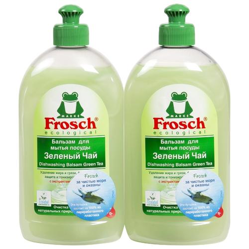 Фото - Frosch Набор бальзамов для мытья посуды Зелёный чай, 2 шт, 0.5 л frosch средство для мытья посуды зелёный лимон 0 5 л