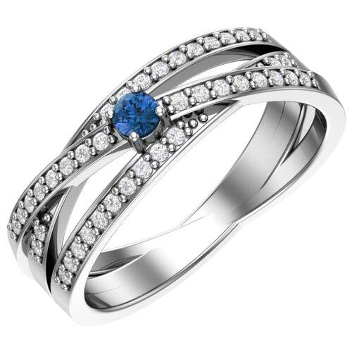 POKROVSKY Серебряное кольцо с синими и бесцветными фианитами 1100814-00285, размер 16.5
