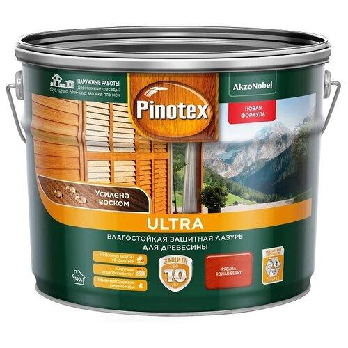 Водозащитная пропитка Pinotex Ultra рябина 9 л