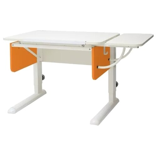 Стол детский Астек-Элара Юниор с боковой приставкой 105x58 см белый/оранжевый