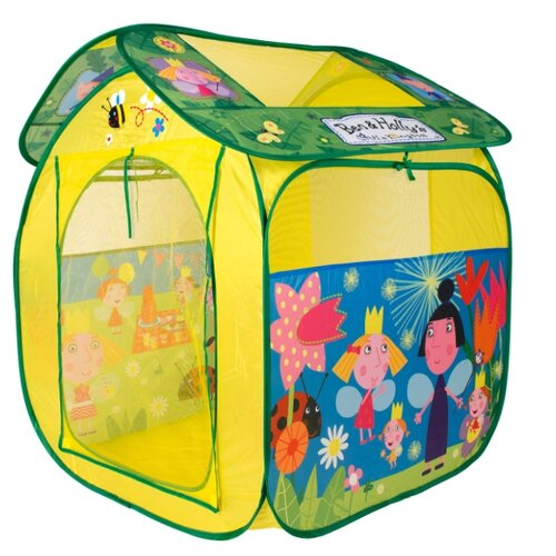 Купить Палатка РОСМЭН Бен и Холли 32771 желтый/зеленый, Игровые домики и палатки