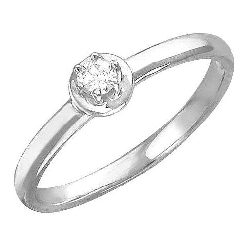 Эстет Кольцо с 1 фианитом из серебра 01К156727, размер 16 ЭСТЕТ