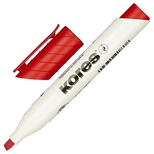 Купить Маркер для досок KORES, красный, 3-5 мм скошенный наконечник 20857 3 шт., Маркеры