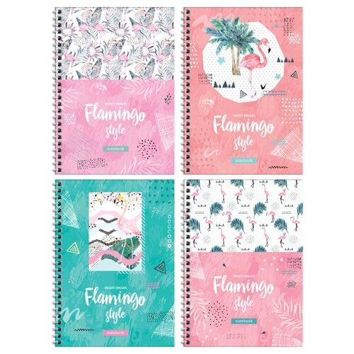 Купить ArtSpace Упаковка тетрадей Стиль. Flamingo , Тт5к80гр_27548, 4 шт./4 дизайна, клетка, 80 л., Тетради