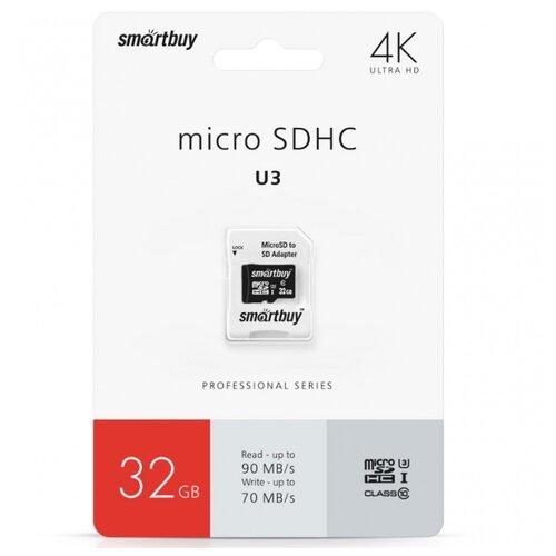 Фото - Карта памяти SmartBuy Professional microSDHC Class 10 UHS-I U3 32GB + SD adapter, черный карта памяти qumo microsdhc class 10 uhs i u1 32gb sd adapter